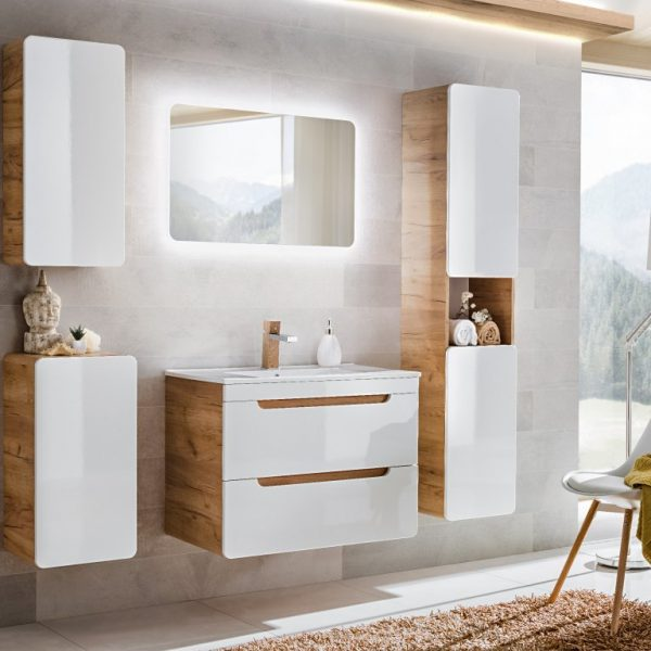 ArtCom Kúpeľňový komplet ARUBA White | dub craft zlatý/biely lesk